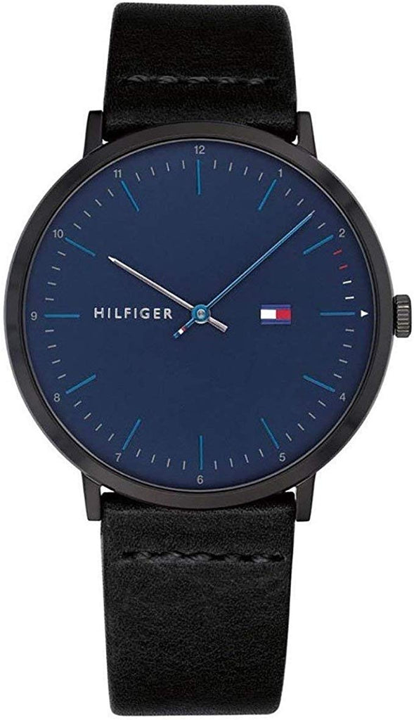 Tommy Hilfiger Black Leather Mens Watch