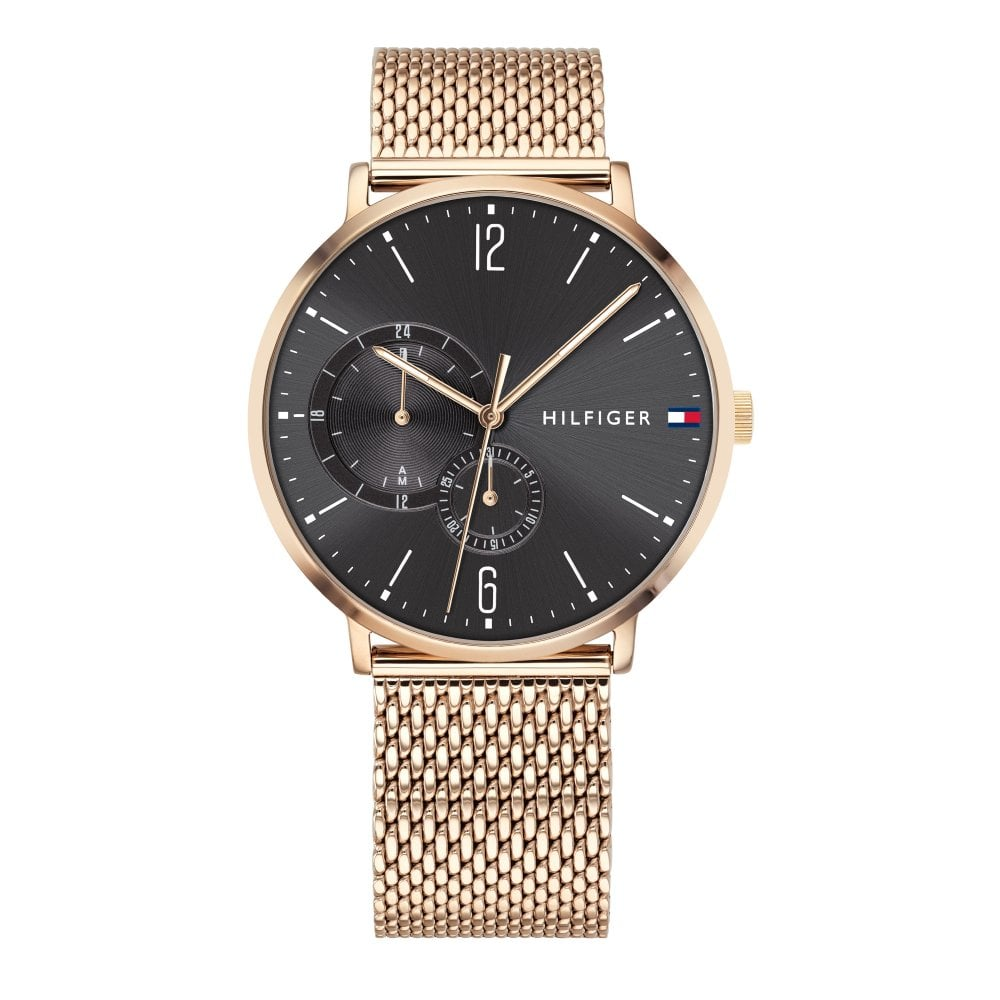 Tommy Hilfiger Rose Gold-Tone Mesh Mens Watch