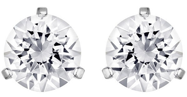 Swarovski Solitaire Pierced Earrings - White - Rhodium Plating -