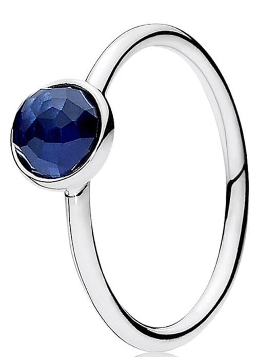 PANDORA September Droplet Ring - Synthetic Sapphire -