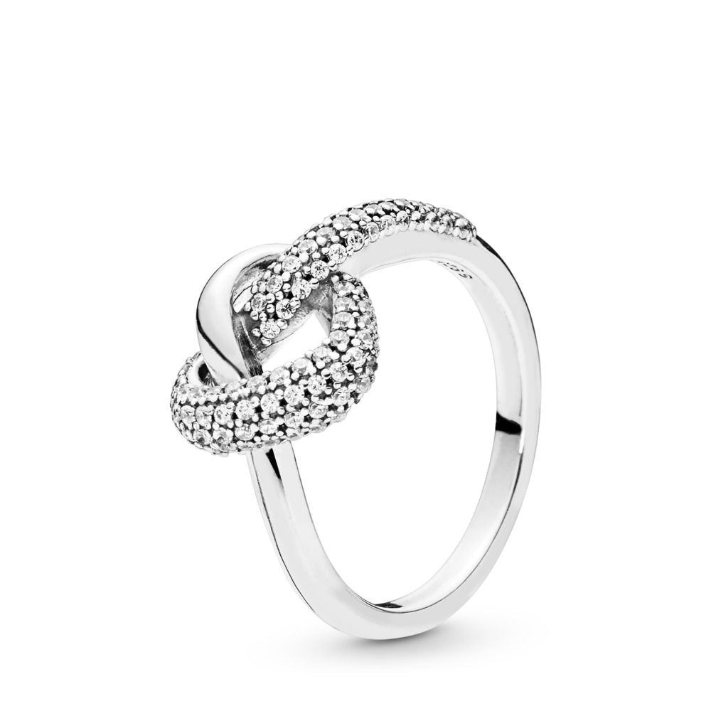 PANDORA Knotted Heart 925 Sterling Silver Ring - Size: 7.5