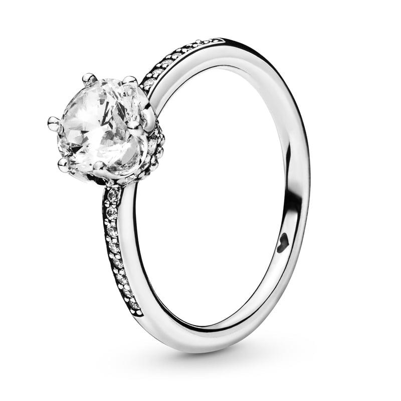 PANDORA Clear Sparkling Crown Ring - Size: 60