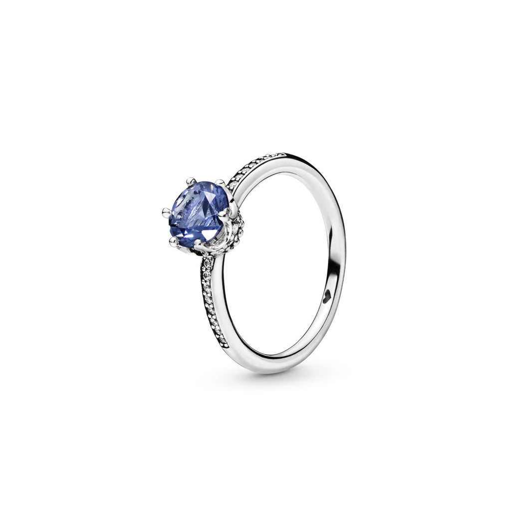 PANDORA Blue Sparkling Crown Ring - Size: 58