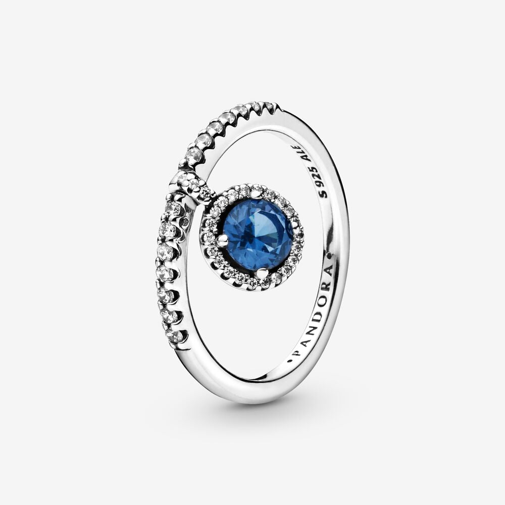 Blue Dangling Round Sparkle Ring - Size 7.5