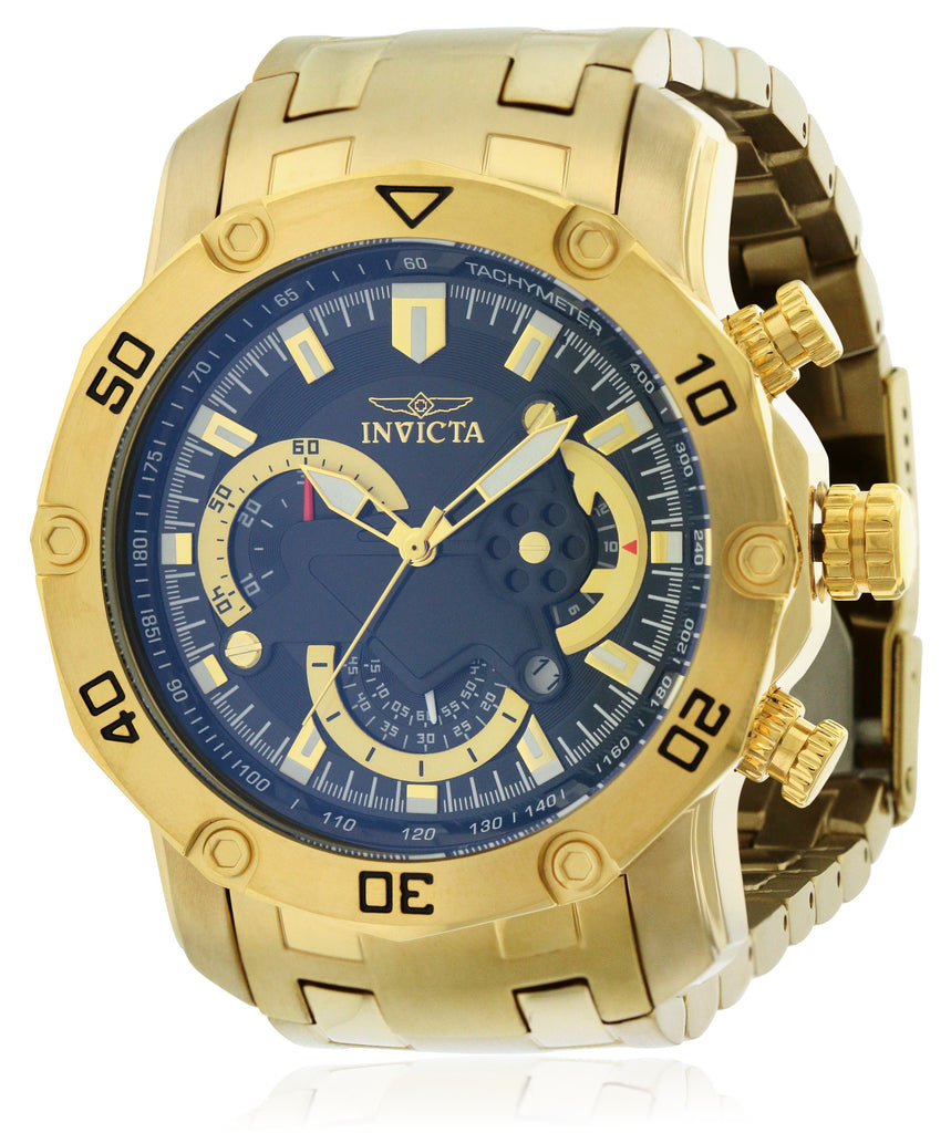 Invicta Gold-Tone Stainless Steel Chronograph Mens Watch