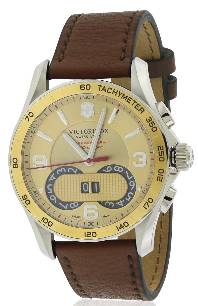 Swiss Army Victorinox Chronograph Leather Mens Watch