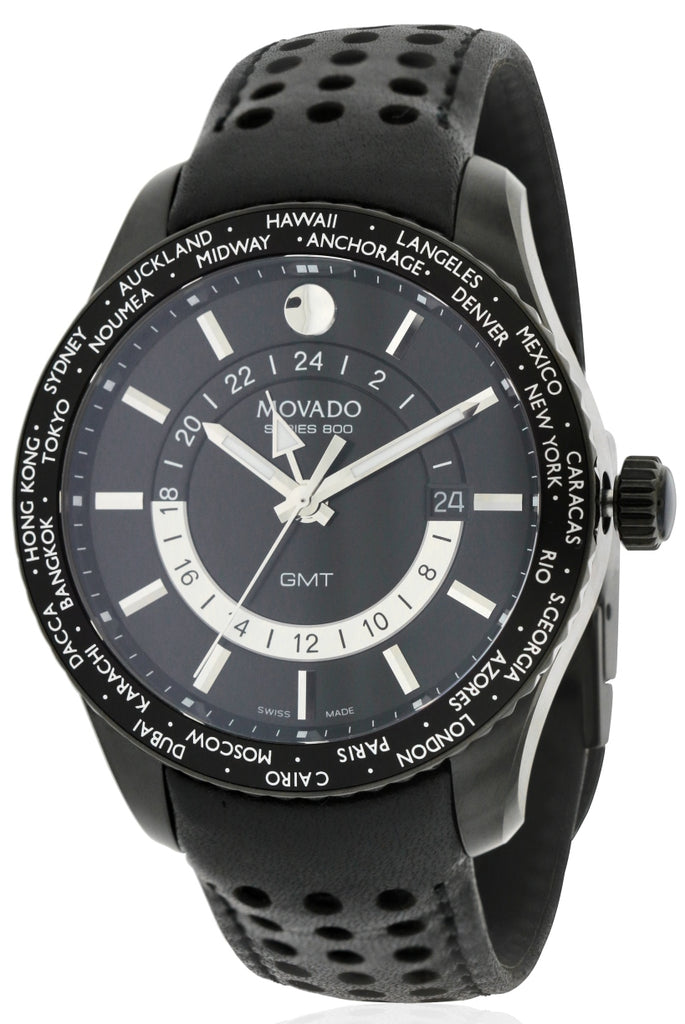 Movado Series 800 Black PVD Leather Mens Watch
