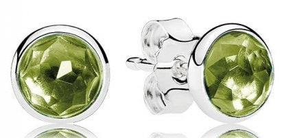 PANDORA August Droplets Stud Earrings - Peridot