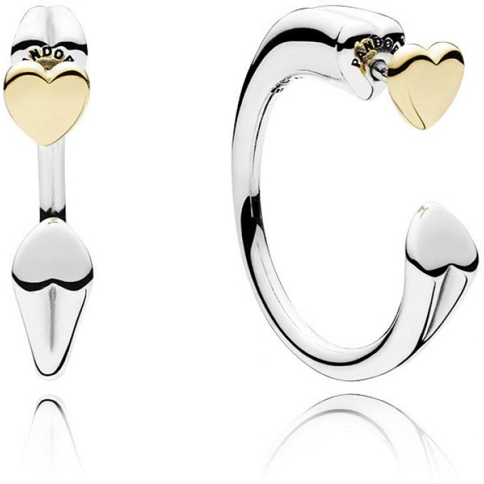 Pandora Two Hearts Hoop Earrings -