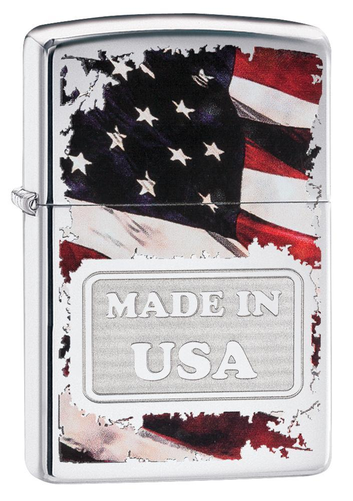 Zippo American Flag Made in USA High Polish Chrome Lighter