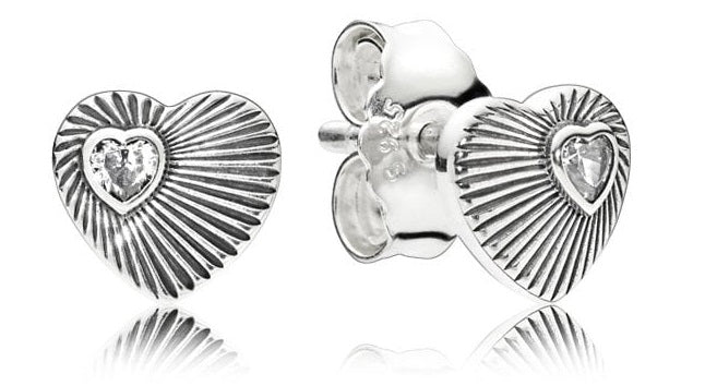PANDORA Vintage Heart Fans Stud Earrings -
