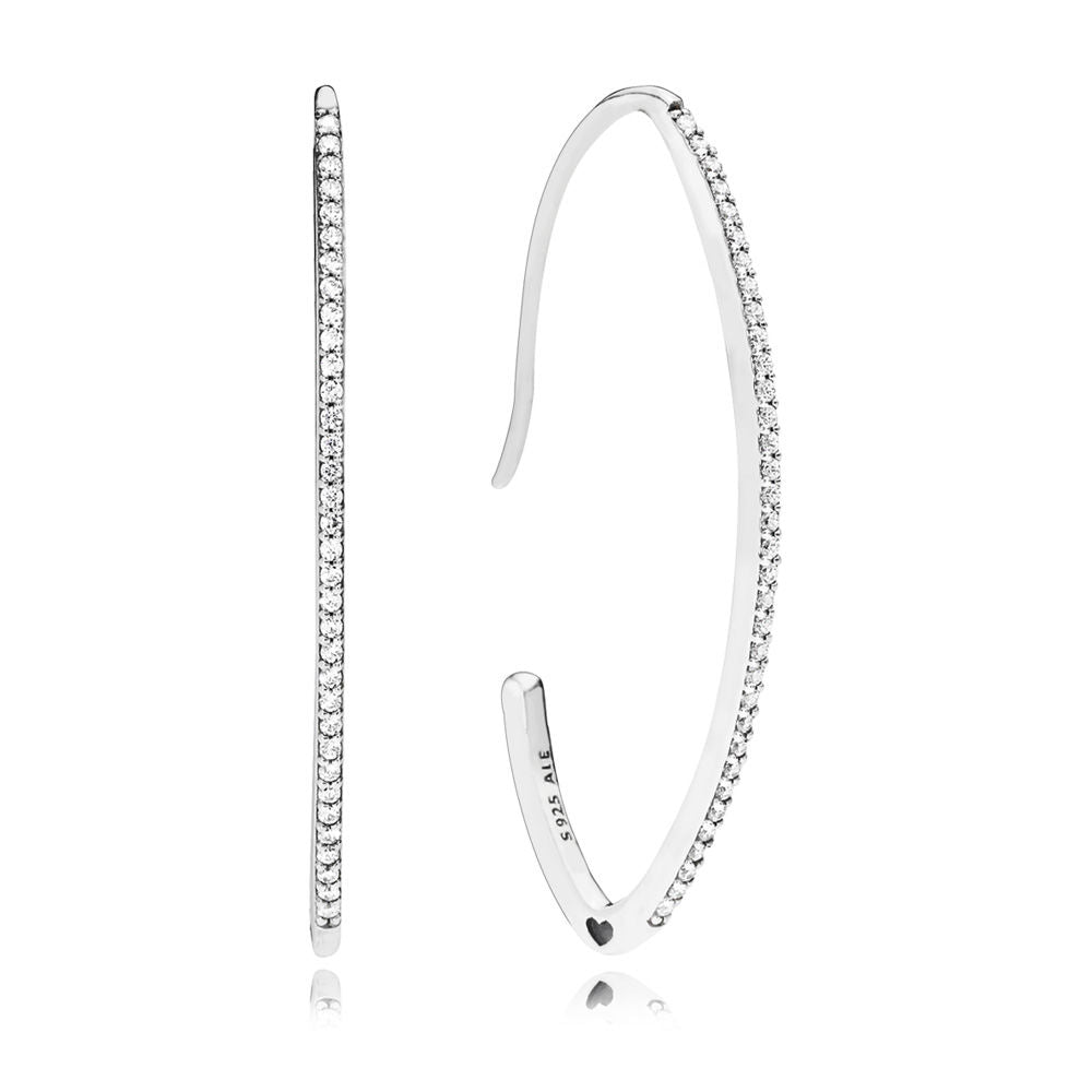 PANDORA Oval Sparkle Hoop Earrings -