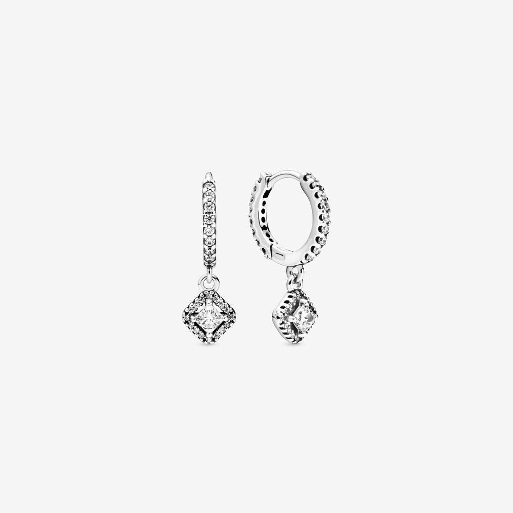 PANDORA Square Sparkle Hoop Earrings -