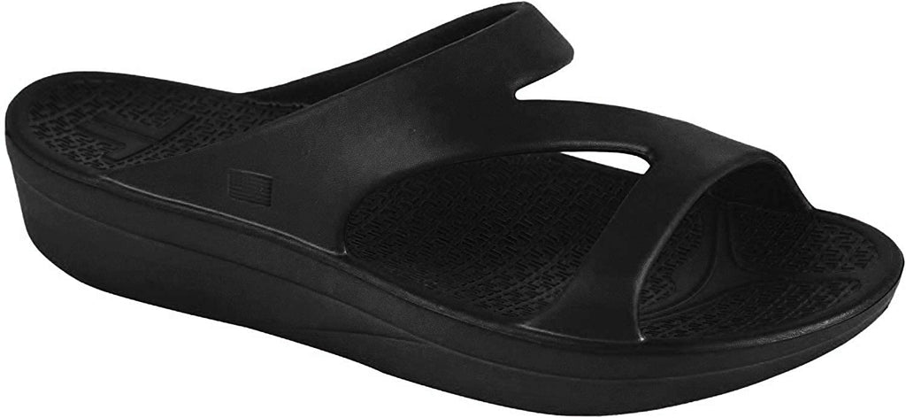 Telic Z-Strap Sandal - Comfort Slides with Orthotic Grade Arch Support - Midnight Black - Womens 7