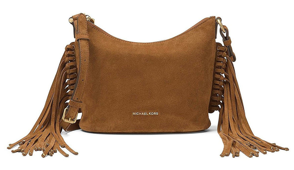 Michael Kors Billy Medium Suede Messenger - Dark Caramel -
