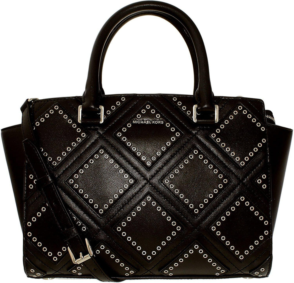 Michael Kors Selma Medium Diamond Grommet Leather Satchel - Black -