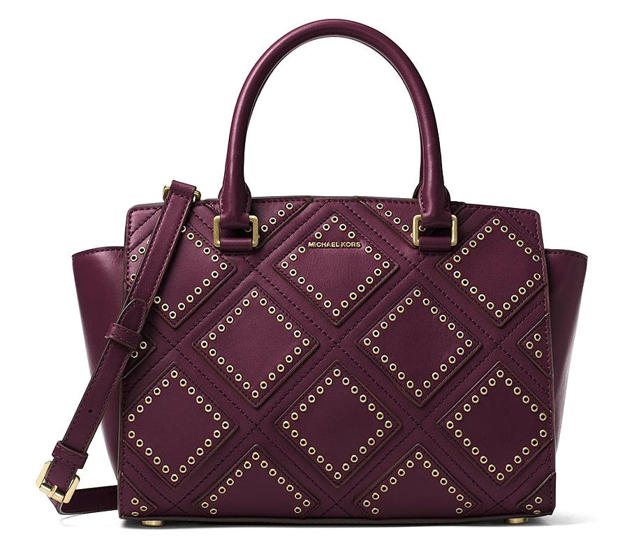 Michael Kors Selma Medium Diamond Grommet Leather Satchel - Plum -