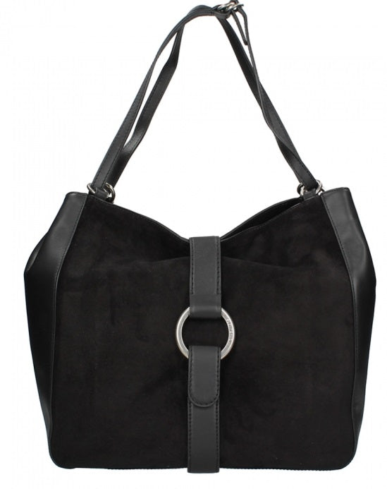 Michael Kors Quincy Large Suede and Leather Shoulder Tote - Black -