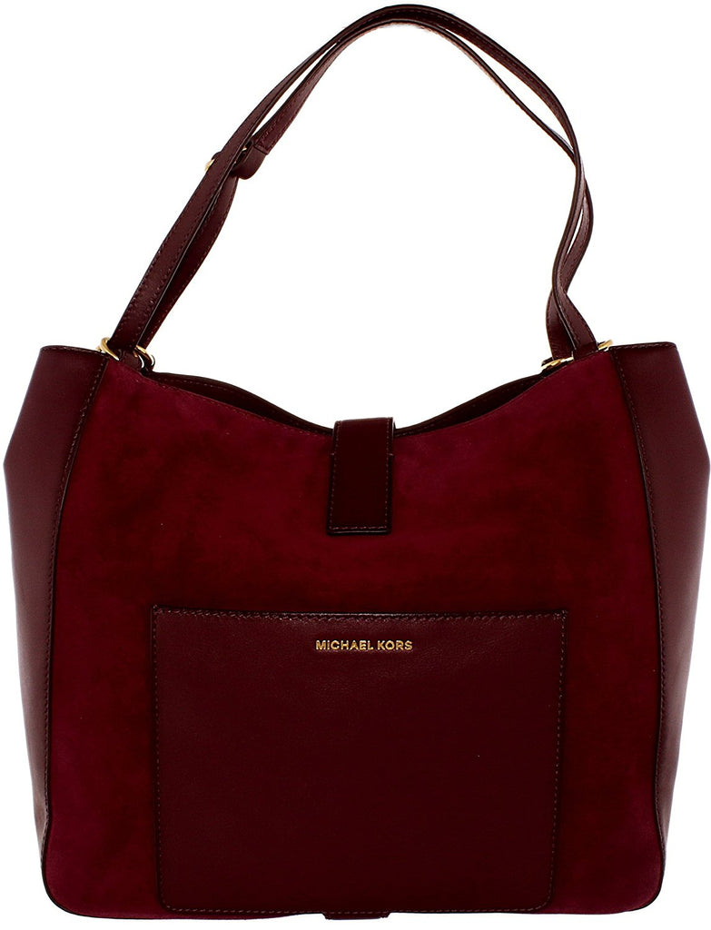 Michael Kors Quincy Large Suede and Leather Shoulder Tote - Maroon -