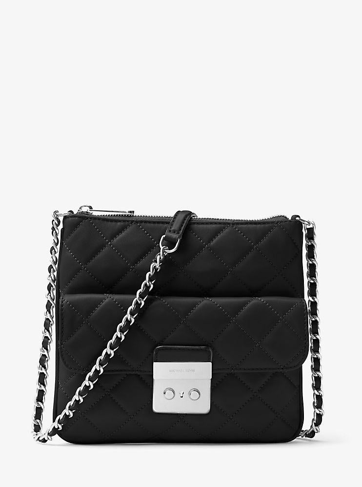 Michael Kors Sloan Medium Quilted-Leather Crossbody Bag - Black -