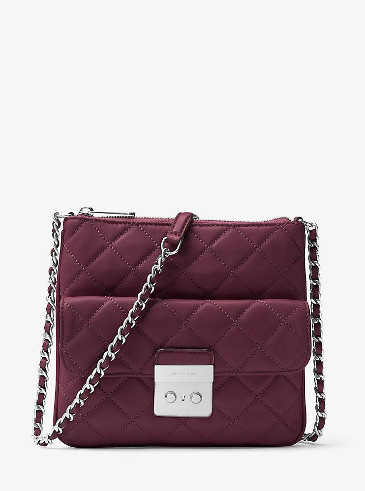 Michael Kors Sloan Medium Quilted-Leather Crossbody Bag - Plum -