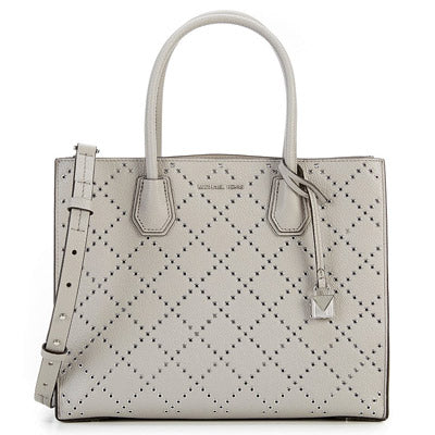 Michael Kors Mercer Grommeted Leather Tote - Grey -