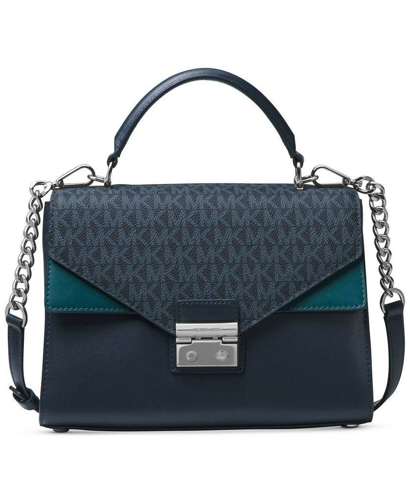 MICHAEL KORS Sloan Medium Leather Satchel - Heritage Blue