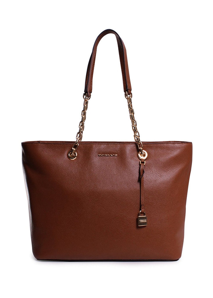 Michael Kors Mercer Medium Chain-link Leather Tote - Brown -