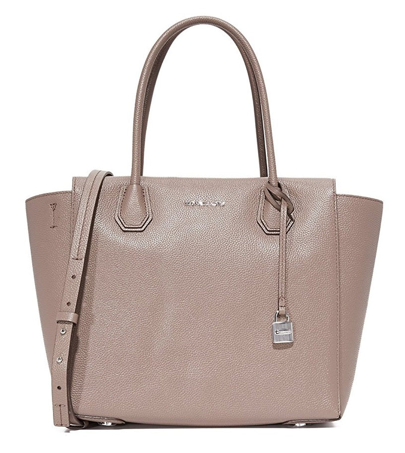 Michael Kors Mercer Large Leather Satchel - Pearl Grey -