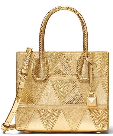 Michael Kors Mercer Metallic Patchwork Leather Crossbody - Gold -