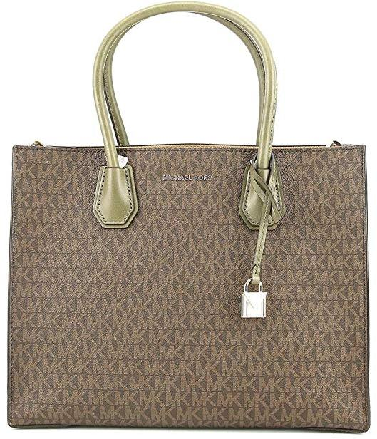 Michael Kors Mercer Large Logo Tote - Brown/Olive -