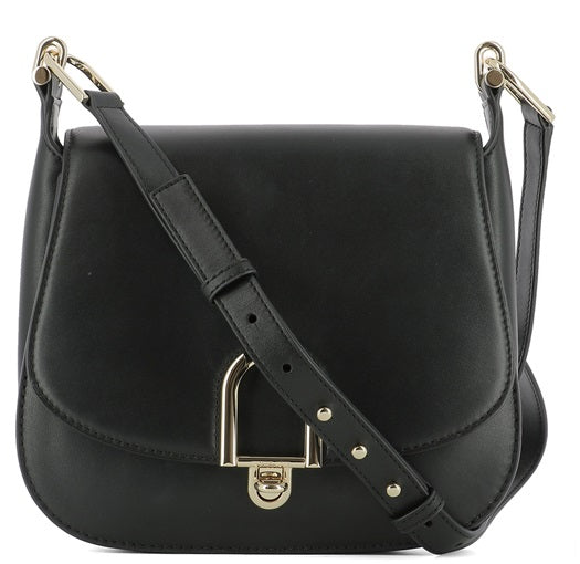 Michael Kors Delfina Large Leather Saddlebag - Black -