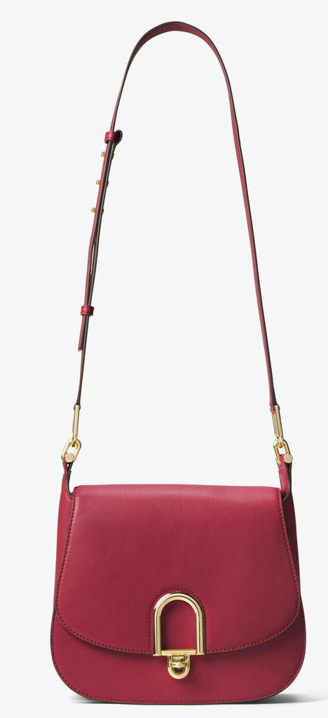Michael Kors Delfina Large Leather Saddlebag - Burnt Red -