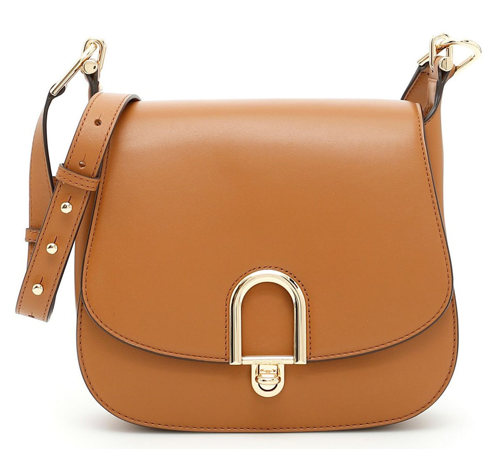 Michael Kors Delfina Large Leather Saddlebag - Acorn -