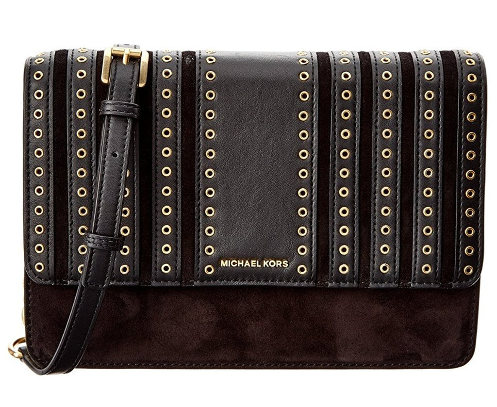 Michael Kors Brooklyn Grommet Large Leather Crossbody Bag - Black -