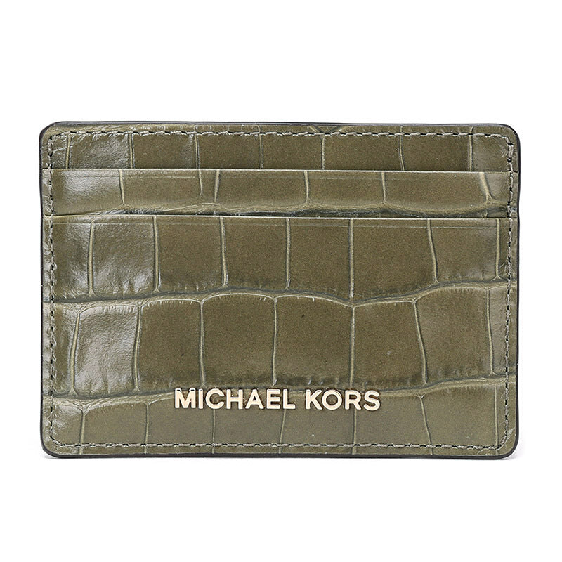 Michael Kors Money Pieces Crocodile-effect Leather - Card Holder - Olive -