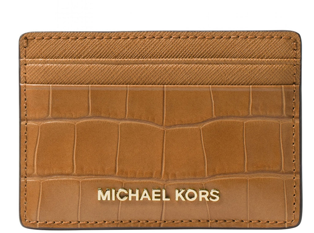 Michael Kors Money Pieces Crocodile-effect Leather - Card Holder - Acorn -
