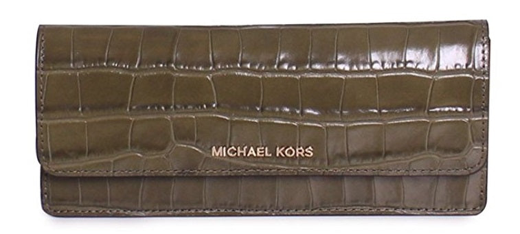 Michael Kors Money Pieces Crocodile-embossed Leather - Flat Wallet - Olive -