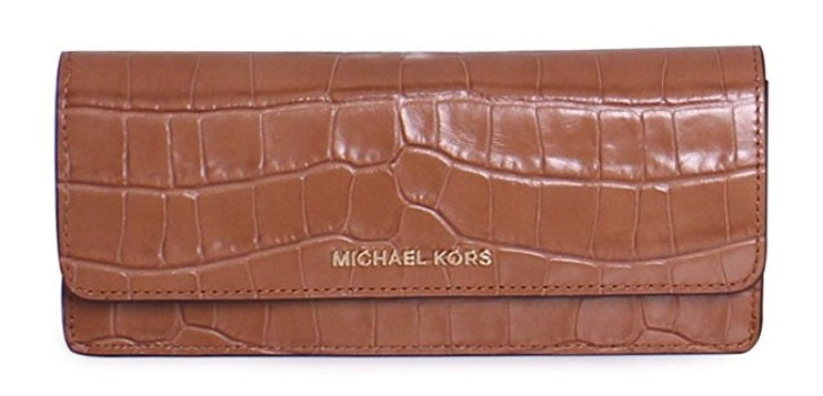 Michael Kors Money Pieces Crocodile-embossed Leather - Flat Wallet - Acorn -