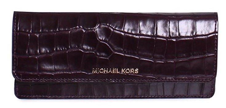 Michael Kors Money Pieces Crocodile-embossed Leather - Flat Wallet - Damson -