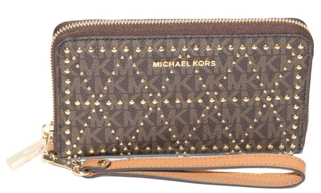 Michael Kors Jet Set Travel Studded Logo Smartphone Wristlet - Brown -