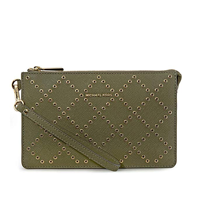 Michael Kors Daniela Grommeted Leather Wristlet - OLIVE -
