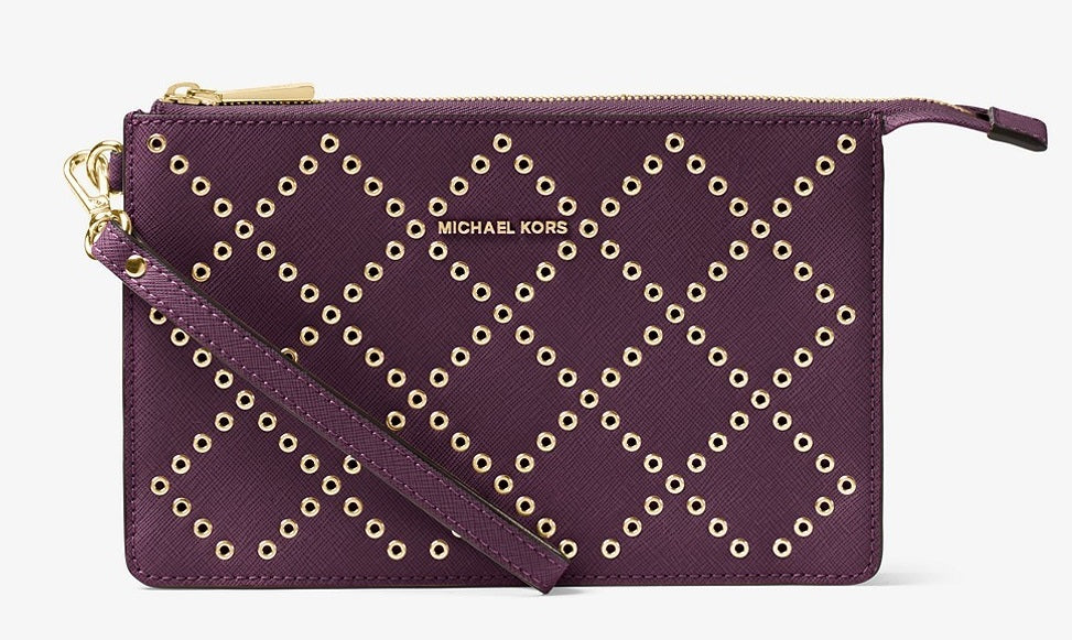 Michael Kors Daniela Grommeted Leather Wristlet - Purple -