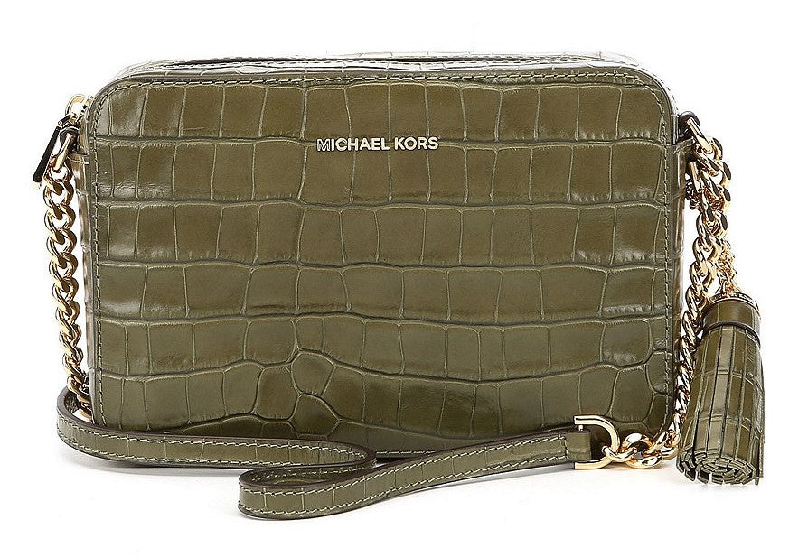 Michael Kors Ginny Embossed-Leather - Crossbody - Olive -