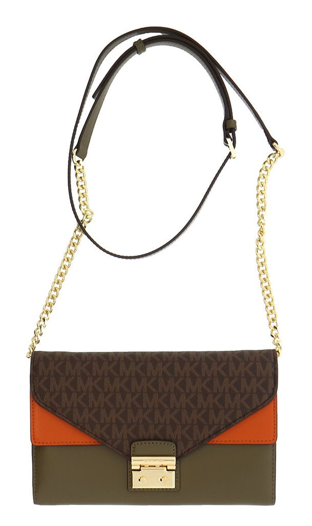 Michael Kors Sloan Large Leather - Wallet-on-chain  - Brown/Olive/Orange -