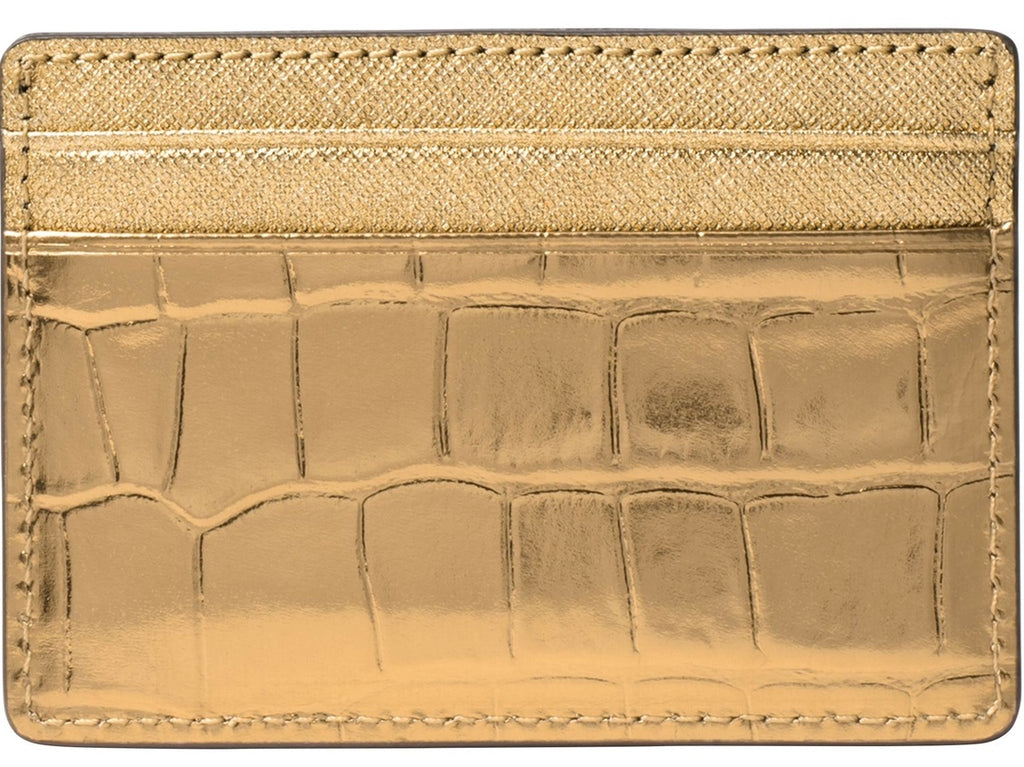 Michael Kors Jet Set Travel Metallic Embossed-Leather - Card Case - Gold -