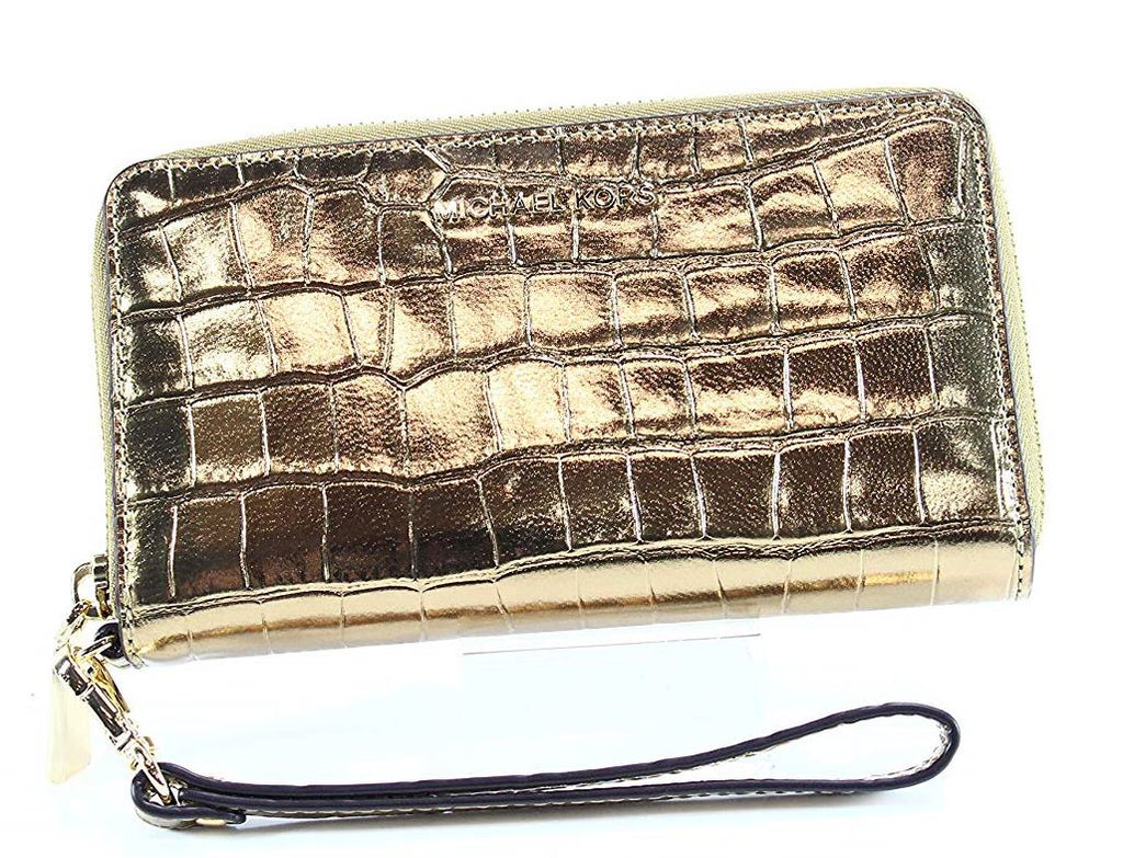 MICHAEL KORS Large Flat Phone Case Wristlet - Gold -