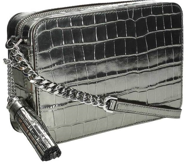 Michael Kors Ginny Metallic Embossed-Leather - Crossbody - Gunmetal -