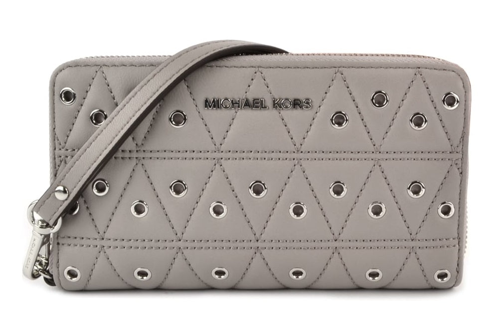 Michael Kors Grommets Leather Multi-functional Wallet - Grey -