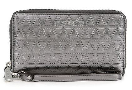 Michael Kors Quilted Metallic Multifunction Phone Wallet - Metalic Grey -